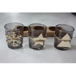 Set de 3 portavelas para Navidad